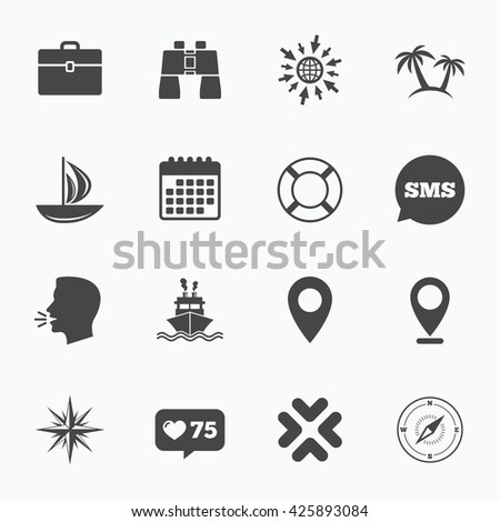 Calendar, go to web and like counter. Cruise trip, ship and yacht icons. Travel, cocktails and palm trees signs. Sunglasses, windrose and swimming symbols. Sms speech bubble, talk symbols. - stock photo