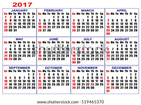 Calendar grid for 2017. Figures on a white background.
