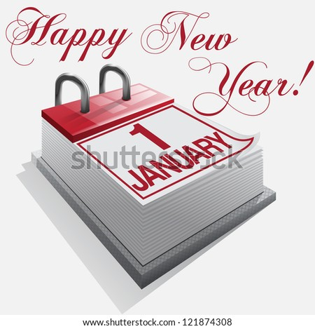 Calendar Happy New Year 1 January - stock photo