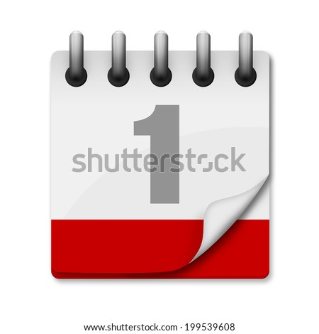 Calendar icon with first of the month and copy space for month at the bottom on the red bar. Concept to represent date, reminder, schedule ... Isolated on a white background with clipping path. - stock photo