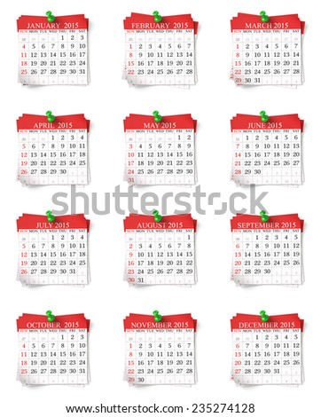 Calendar 2015 , isolated on white background - stock photo