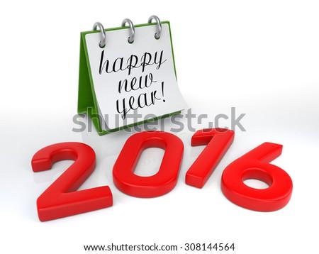 Calendar 2016. Isolated on White. 3D Rendering - stock photo