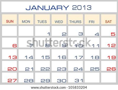calendar January 2013 - stock photo