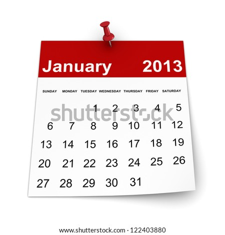 Calendar 2013 - January - stock photo