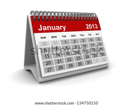 Calendar 2013 - January - stock photo
