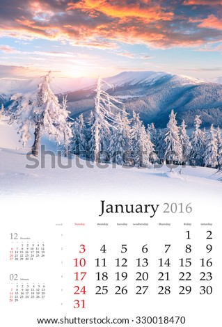 Calendar 2016. January. Colorful winter landscape in the mountains