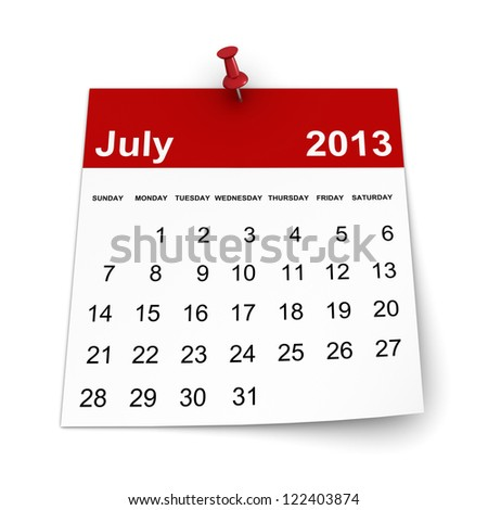 Calendar 2013 - July - stock photo