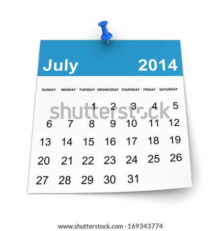 Calendar 2014 - July - stock photo