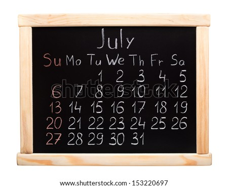 Calendar 2014. July. Written on a blackboard
