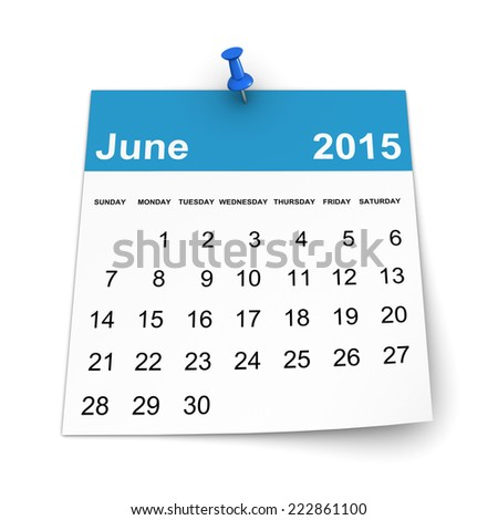 Calendar 2015 - June - stock photo
