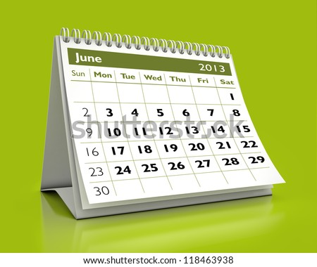 calendar June 2013 in color background