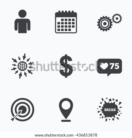 Calendar, like counter and go to web icons. Business icons. Human silhouette and aim targer with arrow signs. Dollar currency and gear symbols. Location pointer. - stock photo