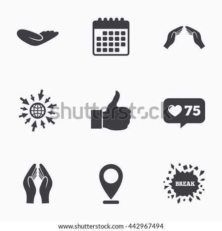Calendar, like counter and go to web icons. Hand icons. Like thumb up symbol. Insurance protection sign. Human helping donation hand. Prayer hands. Location pointer. - stock photo