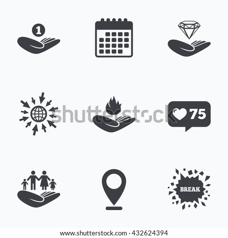 Calendar, like counter and go to web icons. Helping hands icons. Financial money savings, family life insurance symbols. Diamond brilliant sign. Fire protection. Location pointer. - stock photo