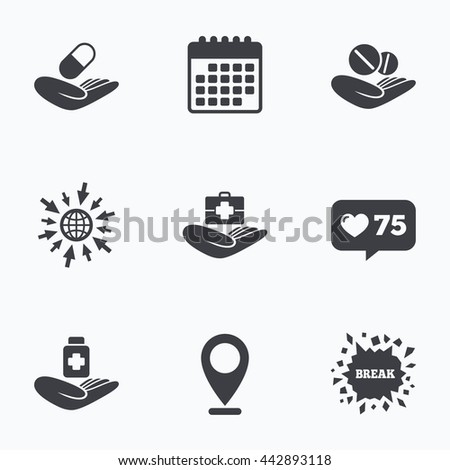 Calendar, like counter and go to web icons. Helping hands icons. Medical health insurance symbols. Drugs pills bottle signs. Medicine tablets. Location pointer. - stock photo