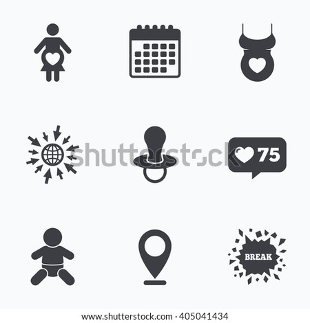 Calendar, like counter and go to web icons. Maternity icons. Baby infant, pregnancy and dummy signs. Child pacifier symbols. Shirt with heart. Location pointer. - stock photo