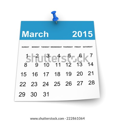 Calendar 2015 - March - stock photo