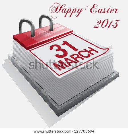 calendar.31 March. Happy Easter. - stock photo