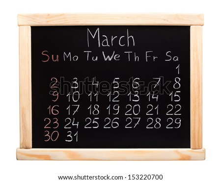 Calendar 2014. March. Written on a blackboard