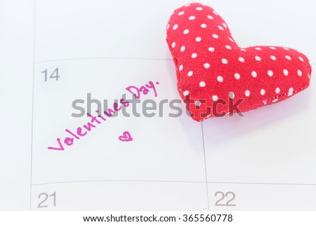 Calendar mark with Valentines Day.
