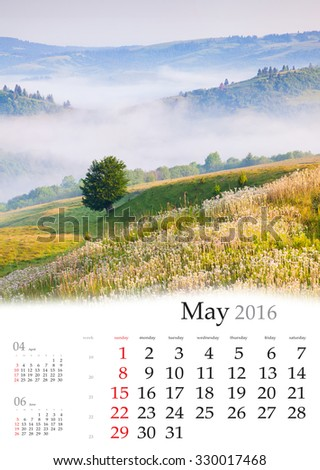 Calendar 2016. May. Colorful spring landscape in the mountains