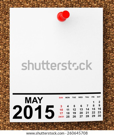 Calendar May 2015 on blank note paper with free space for your text - stock photo