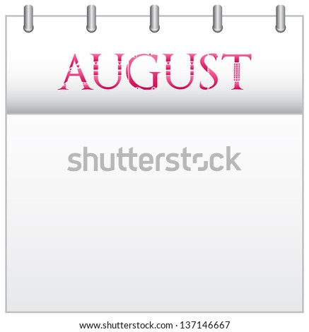 Calendar Month August With Custom Love Font