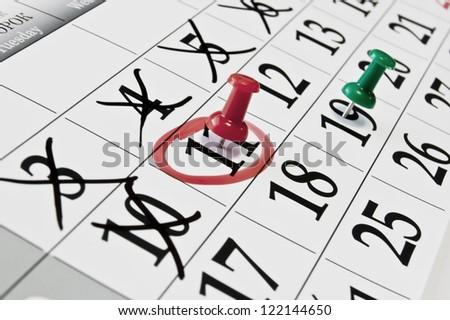 calendar needle - stock photo
