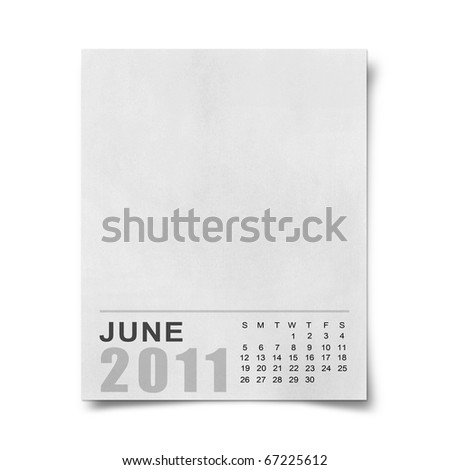 Calendar 2011 Note paper on white background .june - stock photo