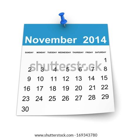 Calendar 2014 - November - stock photo