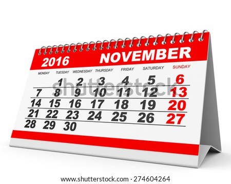 Calendar November 2016 on white background. 3D illustration. - stock photo