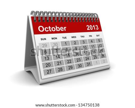 Calendar 2013 - October - stock photo