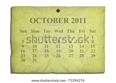 Calendar october 2011 on old Crumpled paper - stock photo