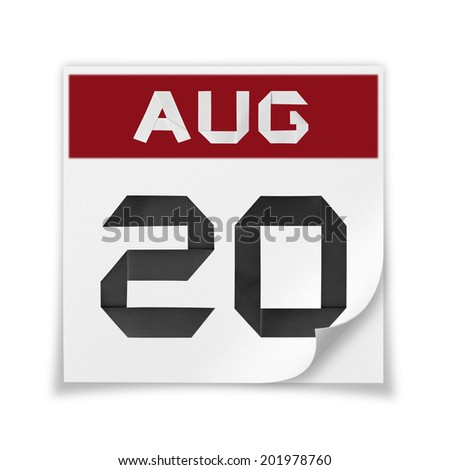 Calendar of August 20, on a white background. - stock photo