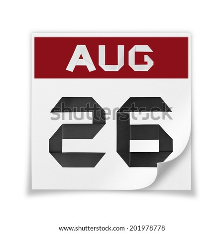 Calendar of August 26, on a white background. - stock photo