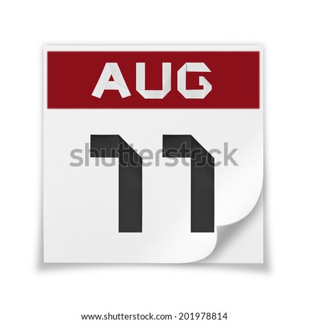 Calendar of August 11, on a white background. - stock photo
