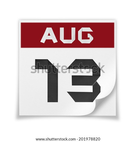 Calendar of August 13, on a white background. - stock photo