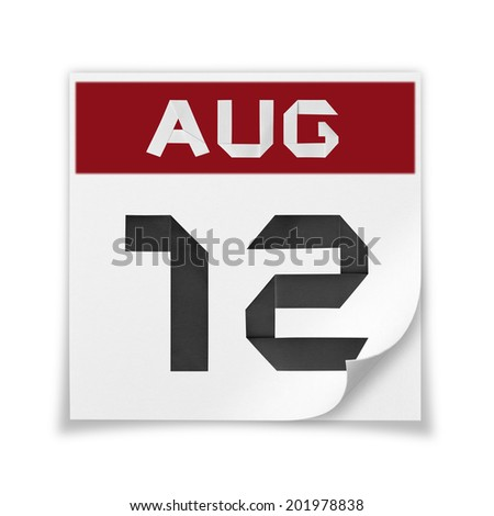 Calendar of August 12, on a white background. - stock photo