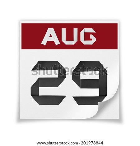 Calendar of August  29, on a white background. - stock photo