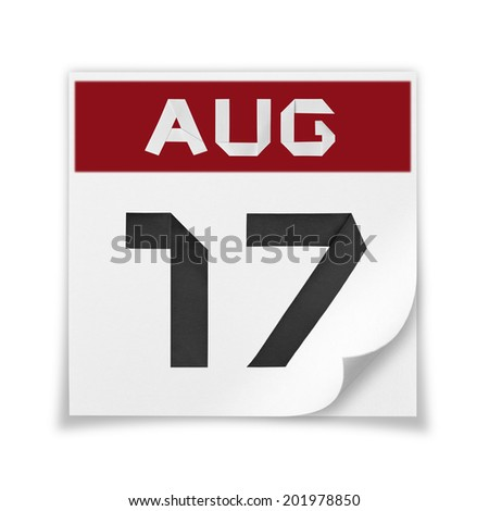 Calendar of August 17, on a white background. - stock photo