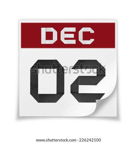 Calendar of December 2, on a white background. - stock photo