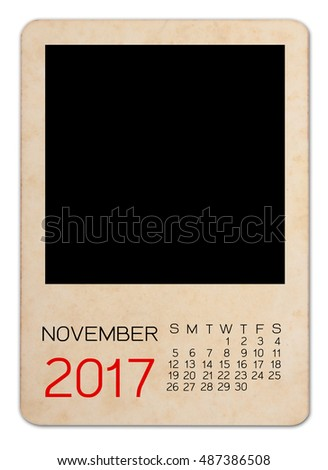 Calendar of November 2017 on the Empty old photo