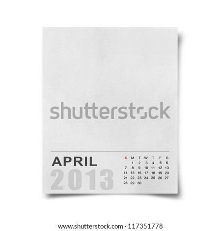 Calendar 2013 on blank note paper background. - stock photo