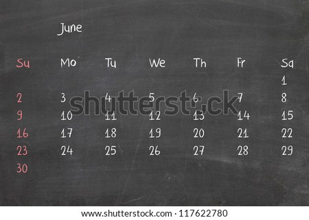 Calendar 2013 on real chalkboard