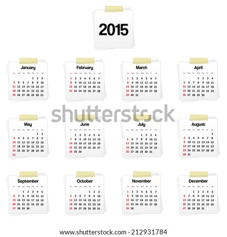 Calendar 2015 on reminders. Vector available. - stock photo