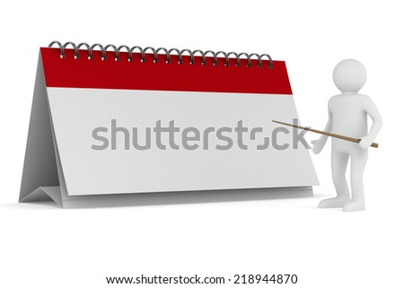 Calendar on white background. Isolated 3D image - stock photo