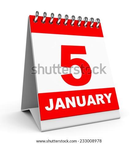 Calendar on white background. 5 January. 3D illustration. - stock photo