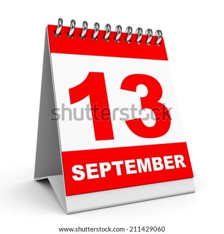 Calendar on white background. 13 September. 3D illustration. - stock photo