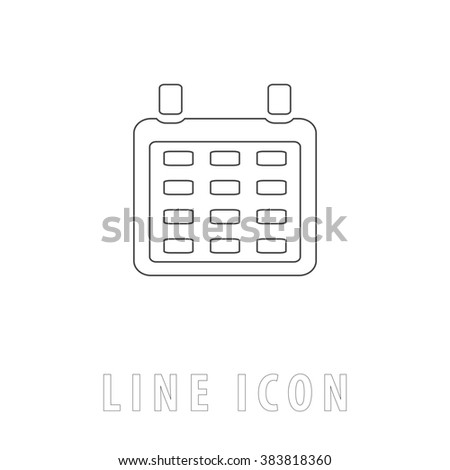 Calendar. Outline simple pictogram on white. Line icon