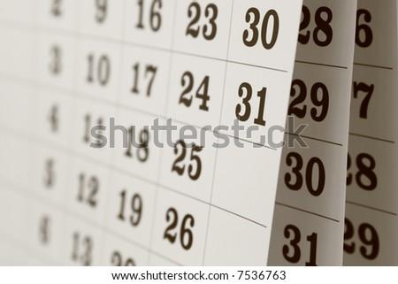 Calendar page, close up - stock photo
